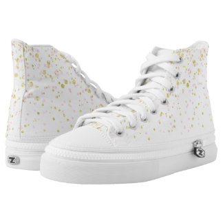 Pink gold confetti dotted high top sneakers