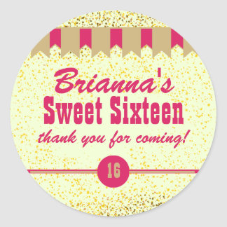 Pink & Gold Confetti Sweet 16 Party Stickers