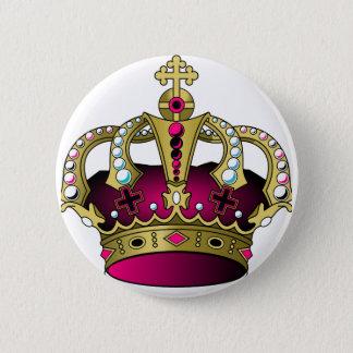Pink & Gold Crown 2 Inch Round Button