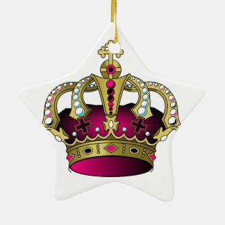 Pink & Gold Crown Ceramic Star Ornament