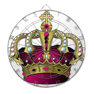 Pink & Gold Crown Dartboard With Darts