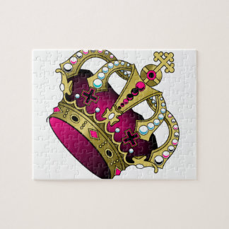 Pink & Gold Crown Jigsaw Puzzle