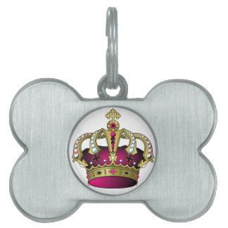 Pink & Gold Crown Pet ID Tag