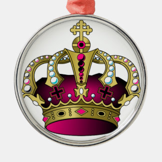 Pink & Gold Crown Silver-Colored Round Ornament