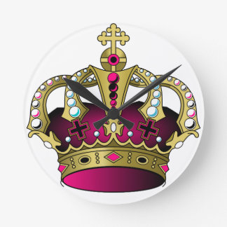 Pink & Gold Crown Wall Clocks