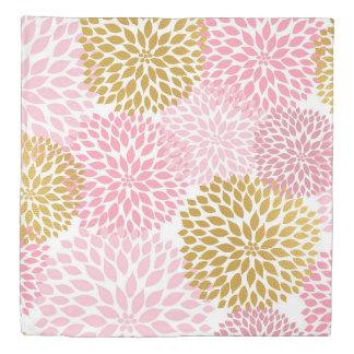 Pink Gold Dahlia duvet cover, pink gold floral