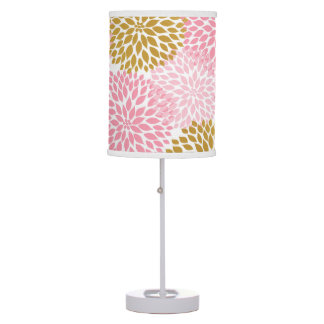 Pink Gold Dahlia Floral bedroom lamp, nursery lamp