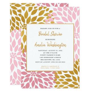 Pink Gold Dahlia Floral Bridal Shower Card