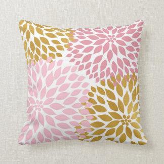 Pink Gold Dahlia Floral decor throw pillow