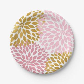 Pink Gold Dahlia Floral Paper plates