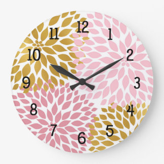 Pink Gold Dahlia Floral round clock, kitchen decor Large Clock