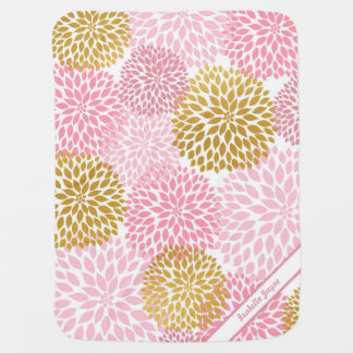 Pink Gold Dahlia personalized baby blanket