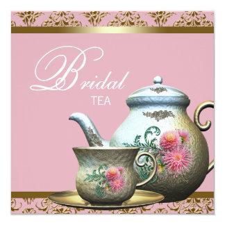 """Pink Gold Damask Bridal Tea Shower 5.25"""" Square Invitation Card"""