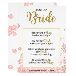 Pink Gold Don't Say Bride Bridal Shower Ring Game Card