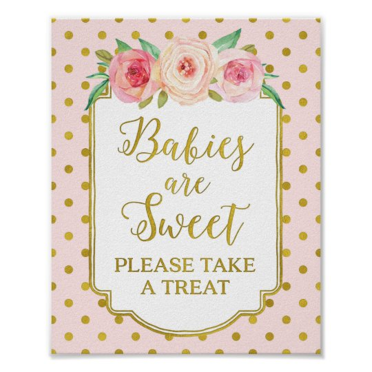 Pink Gold Dots Babies are Sweet Favours Sign