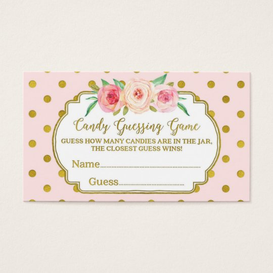 Pink Gold Dots Baby Shower Candy Guessing Game Business Card