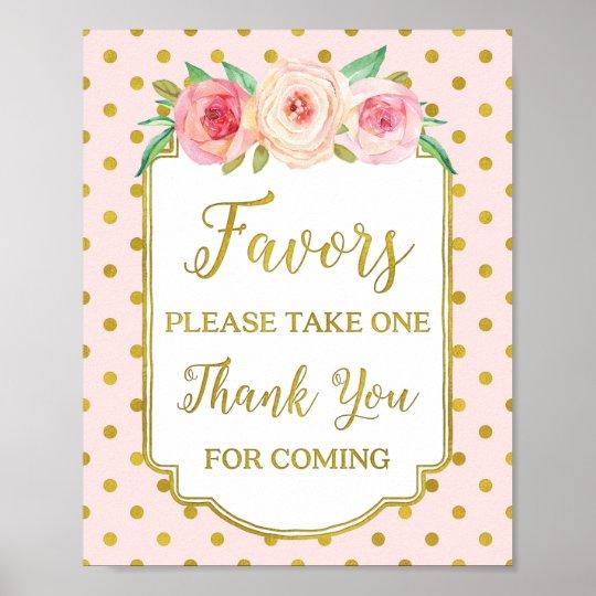 Pink Gold Dots Blush Floral Favours Sign