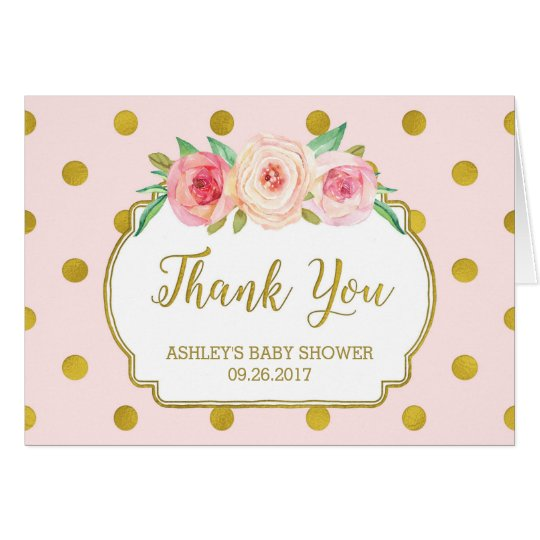 Pink Gold Dots Floral Baby Shower Thank You Card