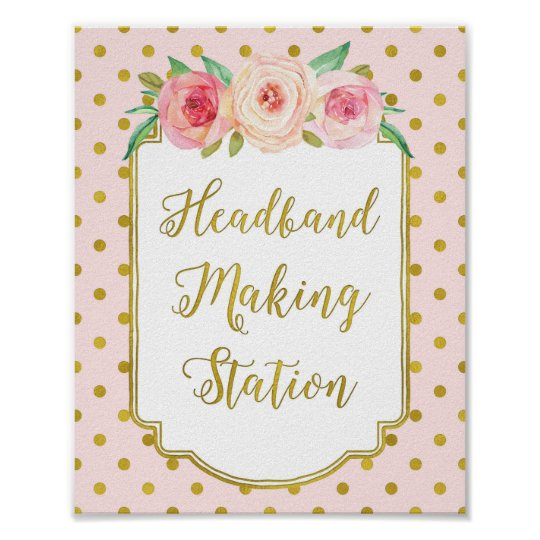 Pink Gold Dots Headband Making Station Sign