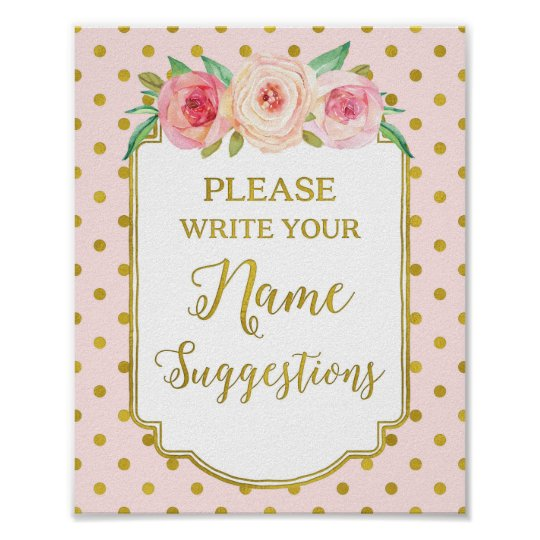 Pink Gold Dots Name Suggestions Sign