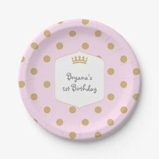 Pink & Gold Dots Royal Crown Princess Party Plates