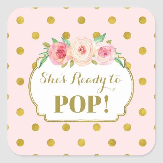 Pink Gold Dots She's Ready to Pop Favour Tags