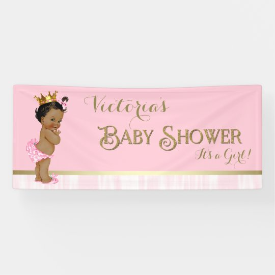Pink Gold Ethnic Princess Baby Shower Banner
