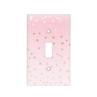 Pink & Gold Faux Foil Shine Golden Confetti Dots Light Switch Cover