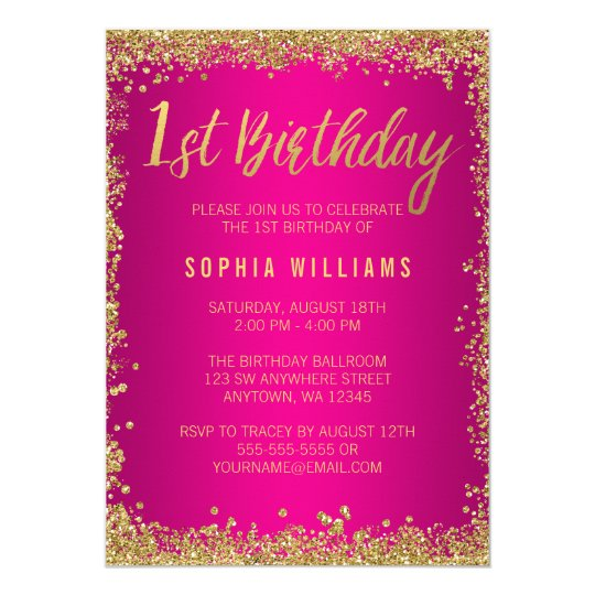 Pink Gold Faux Glitter Girl 1st Birthday Card