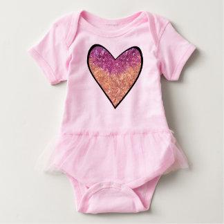 Pink & Gold Faux Glitter Heart Baby Bodysuit
