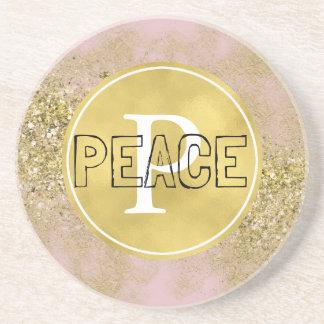 Pink Gold Faux Glitter Peace Monogram Coaster
