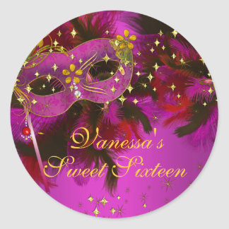 Pink Gold Feather Mask Sweet 16 Masquerade Sticker