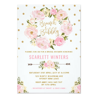 Pink Gold Floral Brunch & Bubbly Shower Invitation