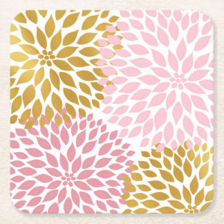 Pink gold floral coasters, girl baby shower idea square paper coaster