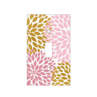 Pink gold floral decor, pink gold dahlias light switch cover
