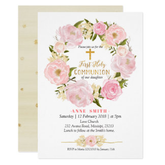 Pink Gold Floral First Holy Communion Invitation