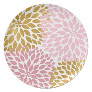 Pink Gold Floral plastic plate
