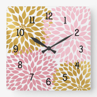 Pink Gold floral wall clock, pink gold dahlias Square Wall Clock
