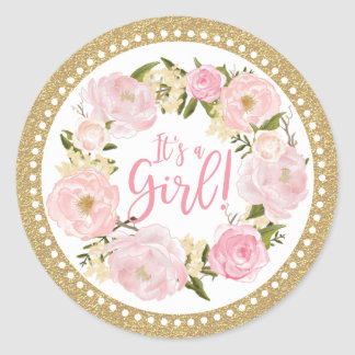 Pink & Gold Flower Girl Baby Sprinkle Favor Tag