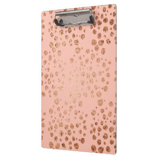 Pink Gold Foil Dots Clipboard for Office