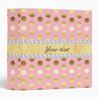 Pink Gold Foil Polka Dots Diamonds 3 Ring Binders