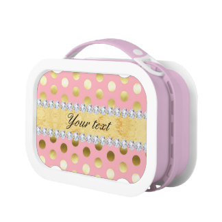 Pink Gold Foil Polka Dots Diamonds Lunch Box