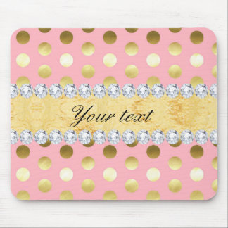 Pink Gold Foil Polka Dots Diamonds Mouse Pad