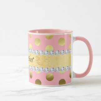 Pink Gold Foil Polka Dots Diamonds Mug