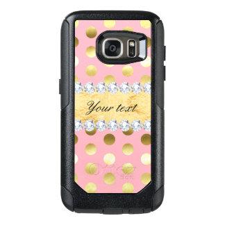 Pink Gold Foil Polka Dots Diamonds OtterBox Samsung Galaxy S7 Case