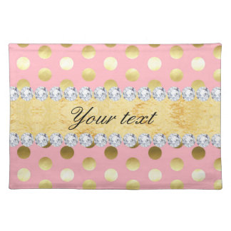 Pink Gold Foil Polka Dots Diamonds Placemat
