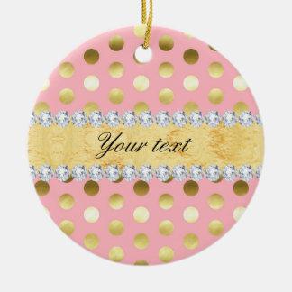 Pink Gold Foil Polka Dots Diamonds Round Ceramic Ornament