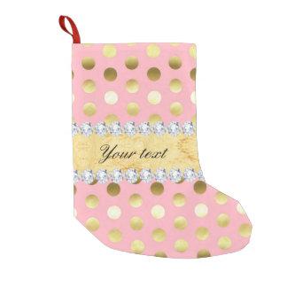 Pink Gold Foil Polka Dots Diamonds Small Christmas Stocking