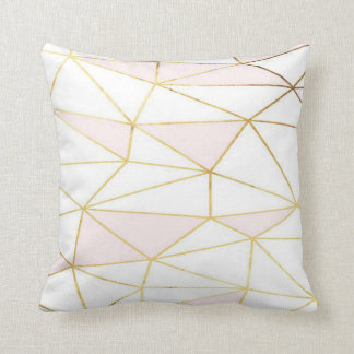 Pink Gold Geometric Pillow