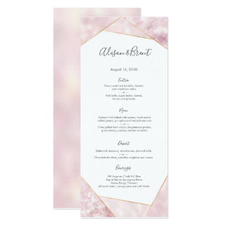 Pink gold geometric Wedding Menu or Program Card